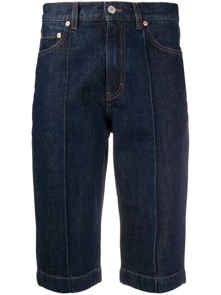 Синие хлопковые джинсовые шорты со стразами Givenchy