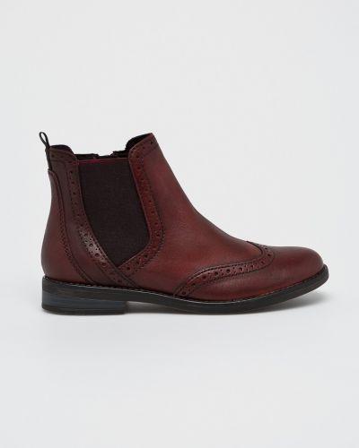 Кожаные сапоги на каблуке текстильные Marco Tozzi