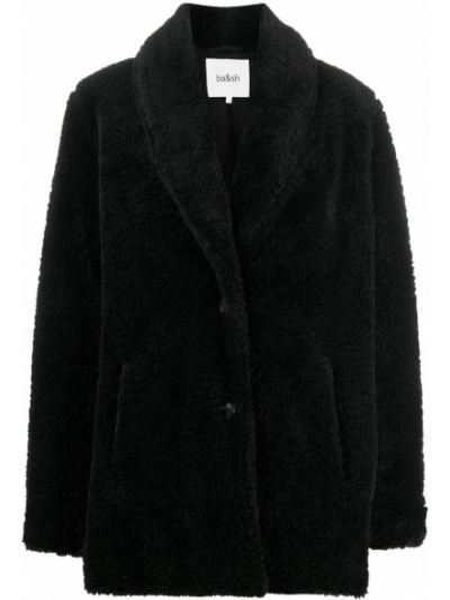 С рукавами черная длинная куртка из искусственного меха с карманами Ba&sh