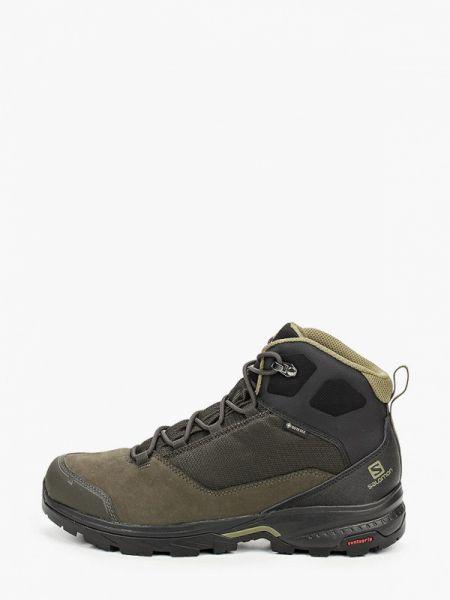 Трекинговые зеленые кожаные треккинговые ботинки Salomon