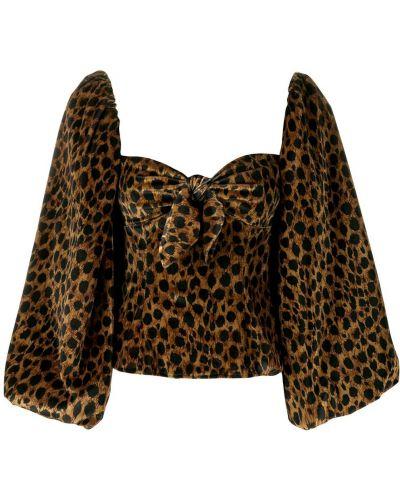 Блузка с леопардовым принтом с рукавом-колоколом Attico