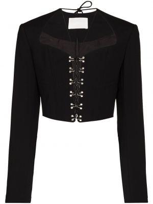 Хлопковая ватная черная длинная куртка Dion Lee