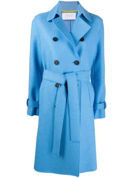 Синее шерстяное пальто классическое с воротником на пуговицах Harris Wharf London