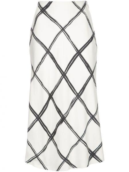 Белая шелковая юбка миди в рубчик Jason Wu Collection