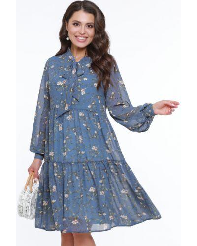 Шифоновое платье с воротником с длинными рукавами с манжетами Dstrend