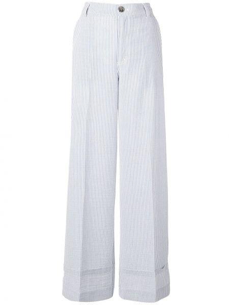 Szerokie spodnie elastyczne z paskiem Ganni