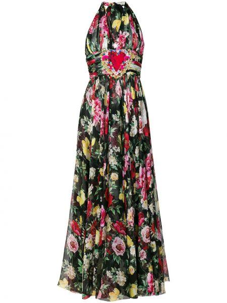Плиссированное шелковое платье с вырезом Dolce & Gabbana
