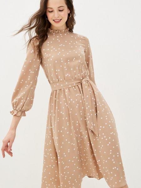 Летнее платье прямое бежевое Pink Summer