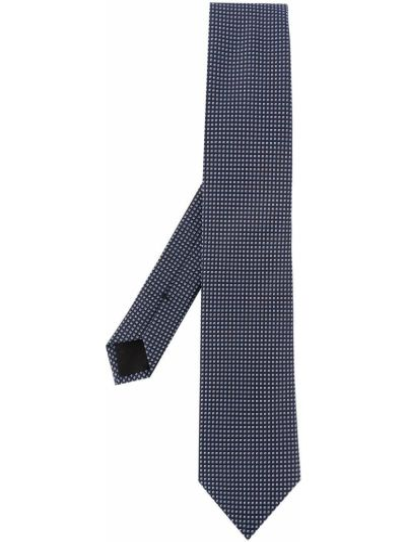 Шелковый синий галстук с вышивкой Boss