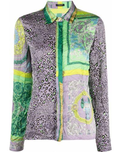 Фиолетовая классическая рубашка с воротником на пуговицах Versace Collection