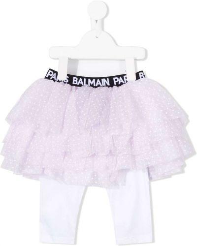 Różowe legginsy bawełniane Balmain Kids