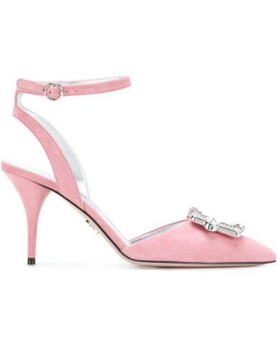 Туфли на высоком каблуке кожаные замшевые Prada