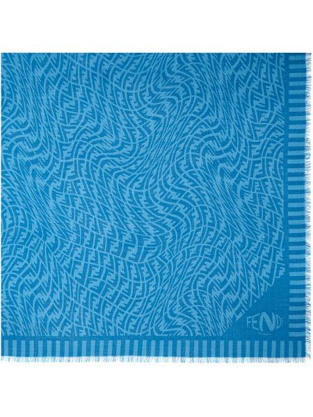 Z kaszmiru szalik - niebieski Fendi