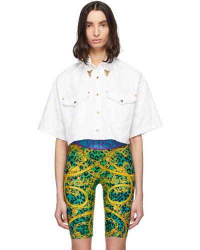 Biały z rękawami koszula jeansowa z kieszeniami z kołnierzem Versace Jeans Couture