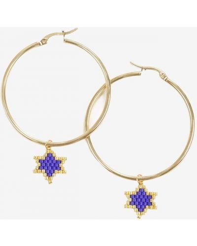 Niebieskie złote kolczyki ze złota Renee