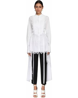Белая ажурная асимметричная рубашка с воротником Alexander Mcqueen