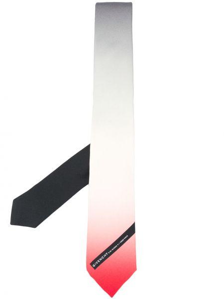 Jedwab biały krawat z łatami Givenchy