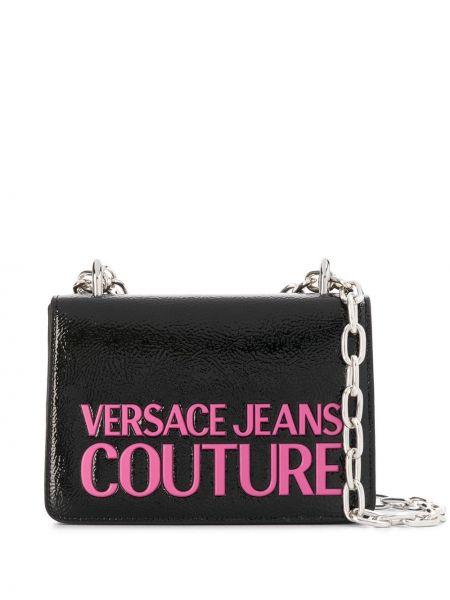 С ремешком черные джинсы с заплатками с тиснением Versace Jeans Couture