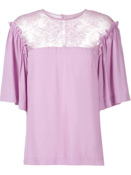 С рукавами блузка прозрачная с вырезом Reinaldo Lourenço