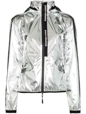 Серебряная нейлоновая куртка с капюшоном на молнии с воротником Paco Rabanne