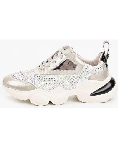 Серебряные кожаные кроссовки Tuffoni
