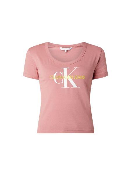 Bawełna różowy koszula jeansowa z dekoltem krótkie rękawy Calvin Klein Jeans