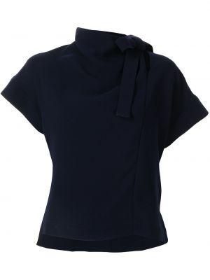С рукавами синяя блузка с воротником Eudon Choi