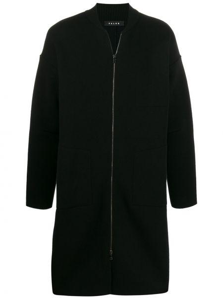 Czarny płaszcz wełniany z długimi rękawami Falke