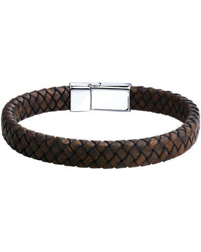 Повседневный кожаный коричневый плетеный браслет с декоративной отделкой Sokolov