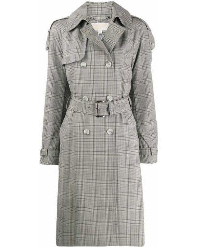Шерстяное бежевое пальто классическое с воротником Michael Michael Kors