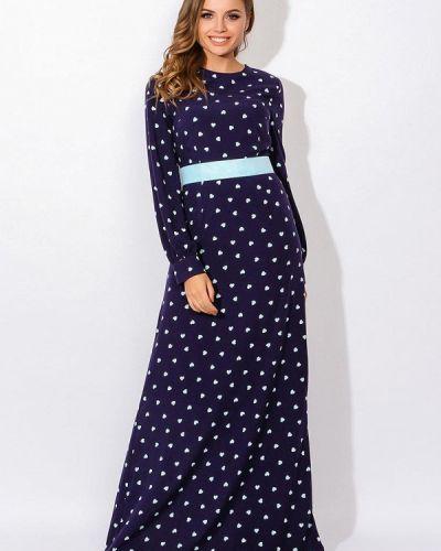 Синее платье с длинными рукавами Tutto Bene
