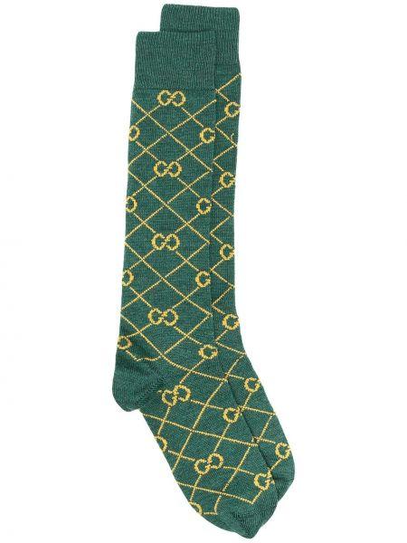 Zielony trykotowy wełniany skarpety Gucci