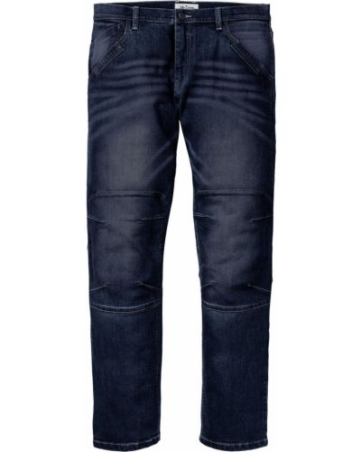 Темно-синие прямые джинсы стрейч с заплатками Bonprix