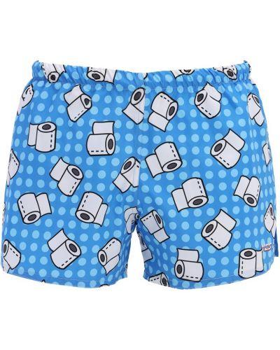 Niebieskie spodenki do pływania z printem Yes I Am