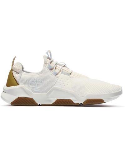 Комбинированные кожаные белые кроссовки Timberland