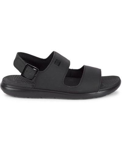 Czarne sandały sportowe peep toe z klamrą Fitflop