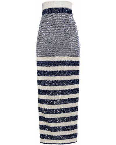 Długa spódnica w paski Balmain