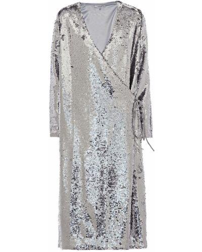 Серебряное платье миди с пайетками для танцев Ganni