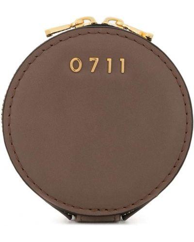 Золотистая коричневая косметичка металлическая матовая 0711
