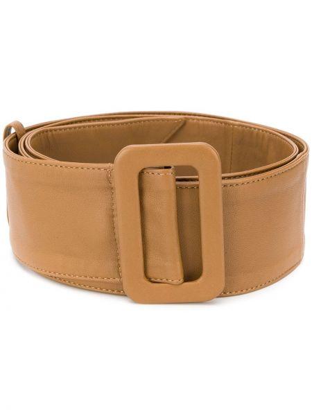 Коричневый кожаный ремень с пряжкой с поясом Federica Tosi