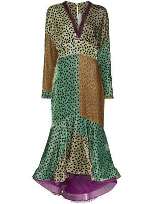 Зеленое шелковое приталенное платье миди на молнии Silvia Tcherassi
