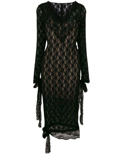 Платье мини с V-образным вырезом с длинными рукавами Christopher Kane