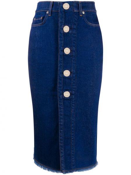 Синяя прямая юбка миди с карманами 7 For All Mankind