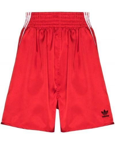 Хлопковые красные широкие шорты Adidas