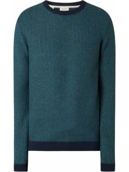Sweter bawełniany - turkusowy Selected Homme