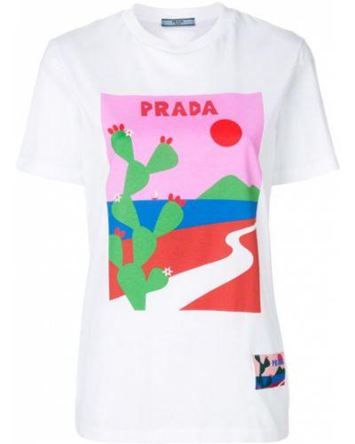 Футболка с логотипом прямая Prada