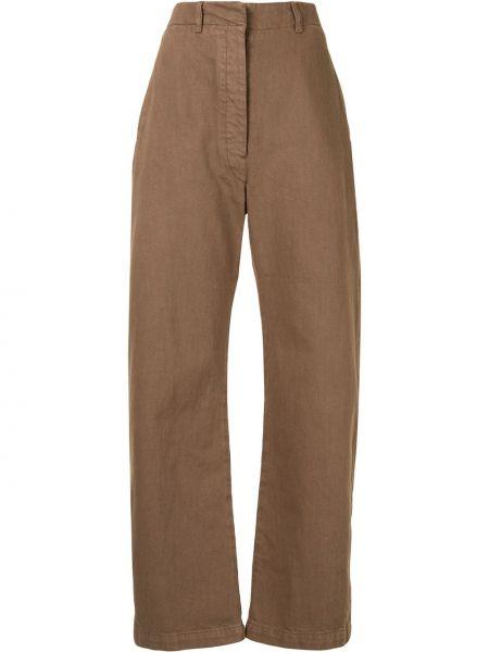 Spodni brązowy szerokie spodnie z paskiem bezpłatne cięcie Lemaire
