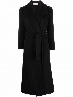 Czarny długi płaszcz wełniany Blanca Vita