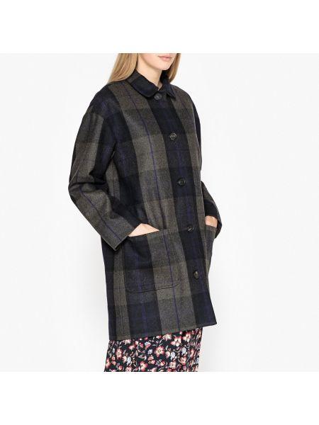 Синее шерстяное пальто классическое с воротником с накладными карманами Harris Wilson