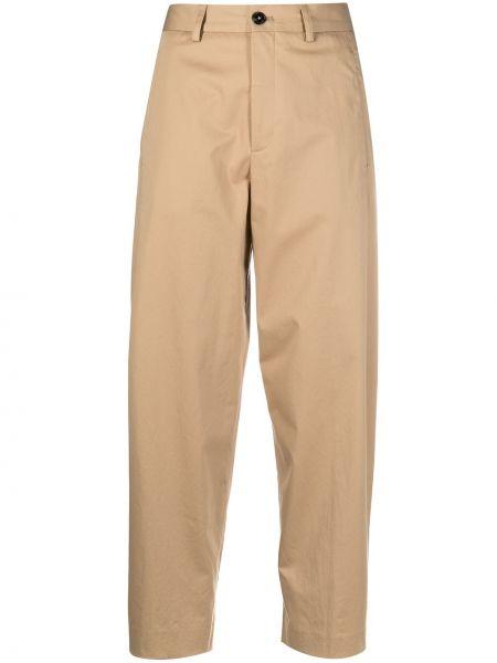 Хлопковые прямые укороченные брюки на молнии Closed